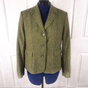 L.L. Bean Large green wool/silk blend blazer
